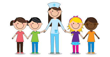 Nurse Holding Hands with Kids