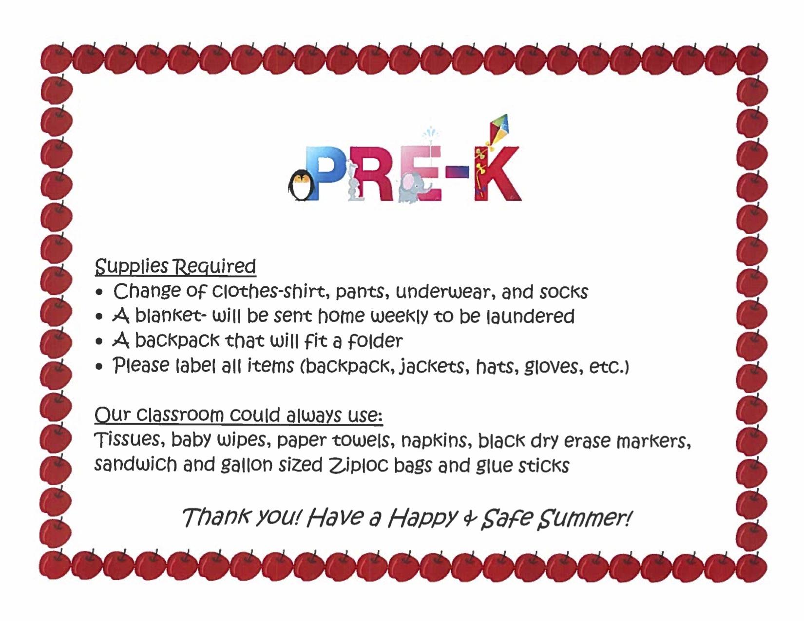 Pre- K Supply List
