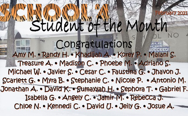 School #4 Student of the Month (February)